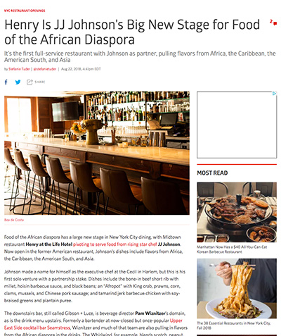 NY Eater: Henry Is JJ Johnson's Big New Stage for Food of the African Diaspora