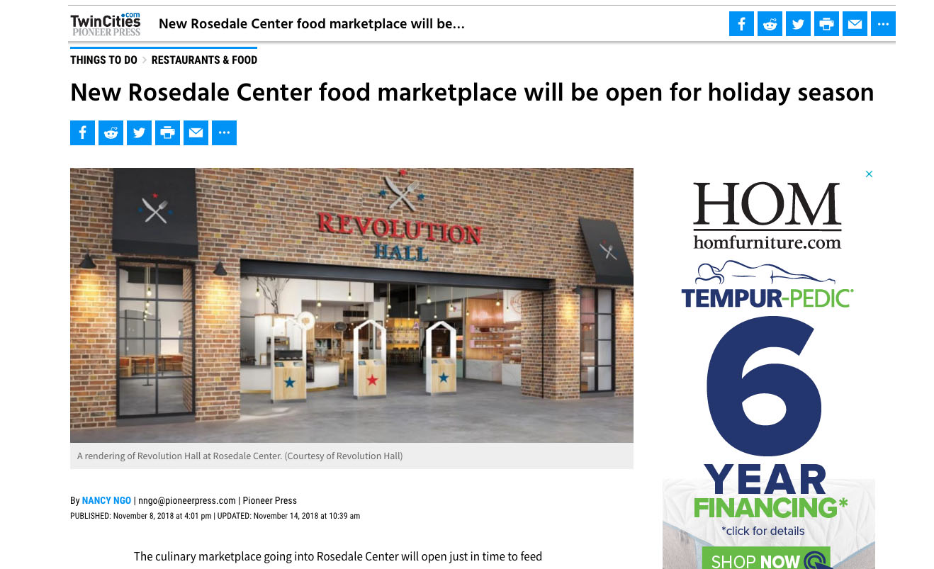 New Rosedale Center food marketplace will be open for holiday season
