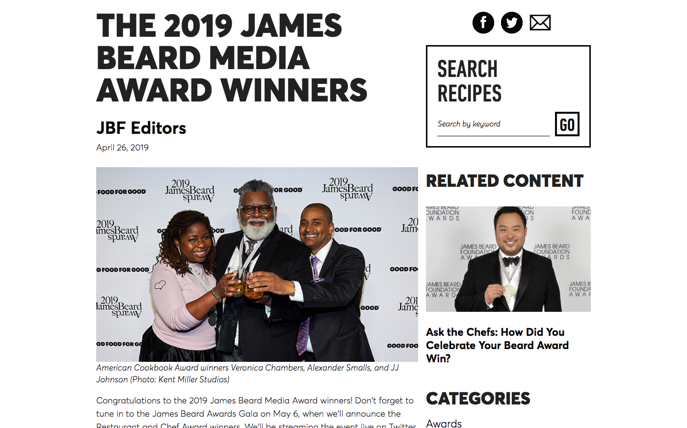 THE 2019 JAMES BEARD MEDIA AWARD WINNERS