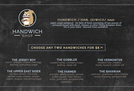 Handwich Shop Menu