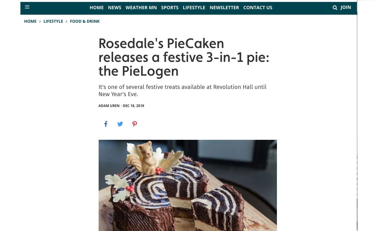 Rosedale's PieCaken releases a festive 3-in-1 pie: the PieLogen
