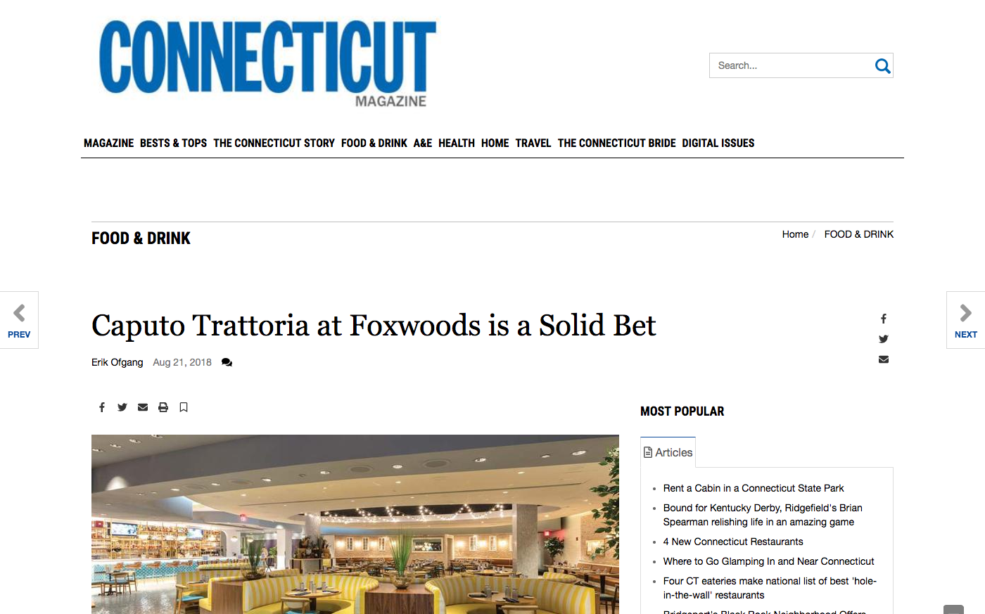 Caputo Trattoria at Foxwoods is a Solid Bet