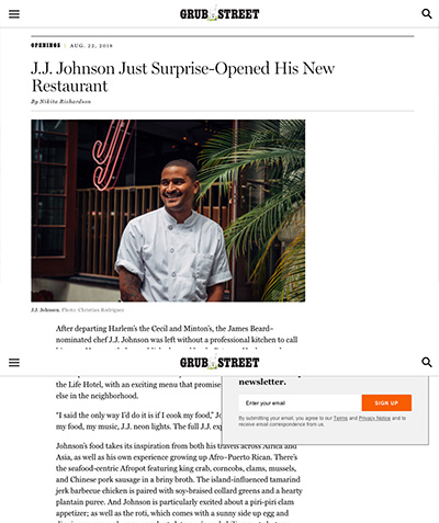 Grub Street: J.J. Johnson Just Surprise-Opened His New Restaurant