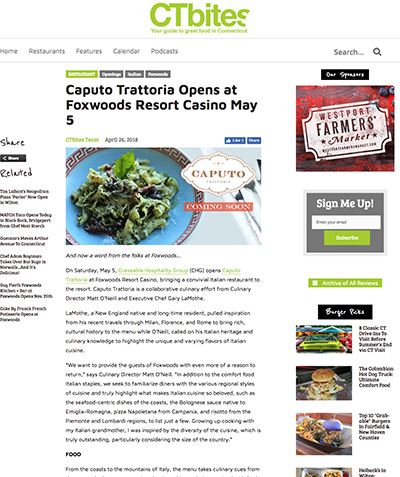 CTBITES: Caputo Trattoria Opens at Foxwoods Resort Casino May 5
