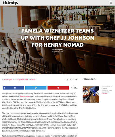 Thirsty: PAMELA WIZNITZER TEAMS UP WITH CHEF JJ JOHNSON FOR HENRY NOMAD