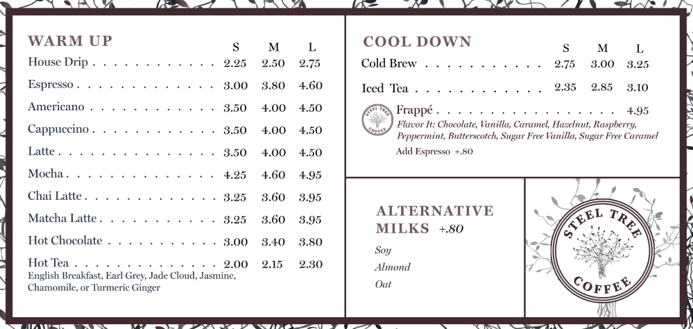 Steel Tree Coffee Menu