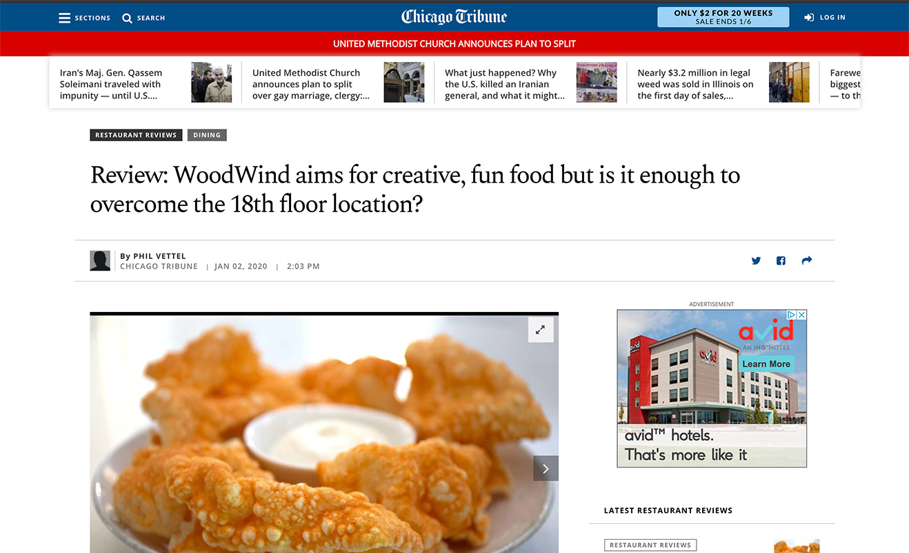 Review: WoodWind aims for creative, fun food but is it enough to overcome the 18th floor location?