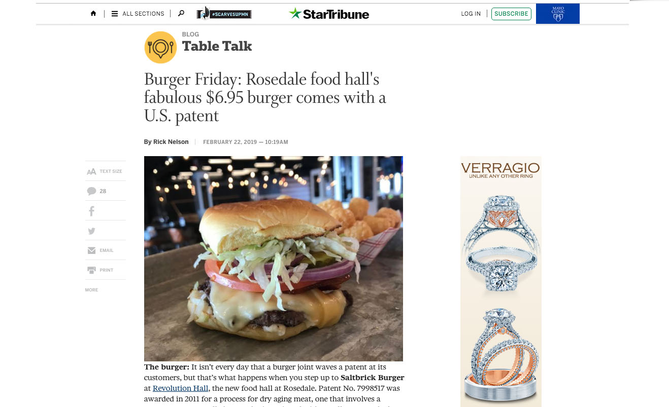 Burger Friday: Rosedale food hall's fabulous $6.95 burger comes with a U.S. patent