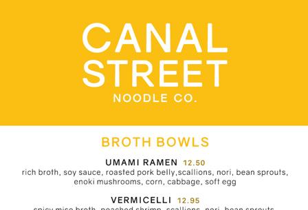 Canal Street Menu